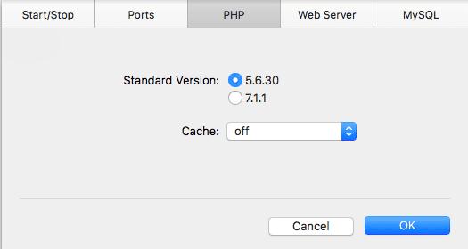 versi PHP di MAMP