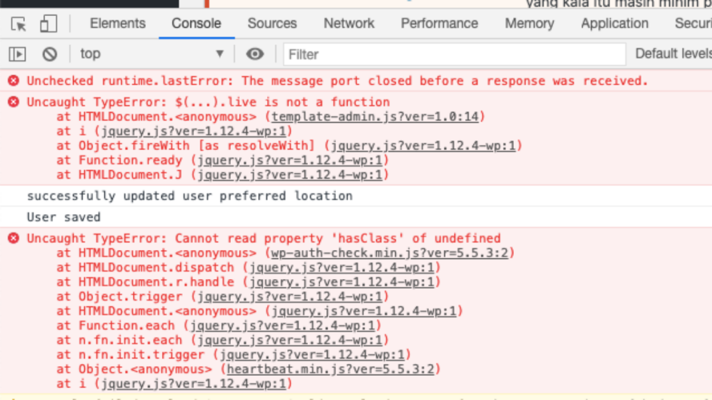 Error Yang Keluar Di cek di Google Chrome