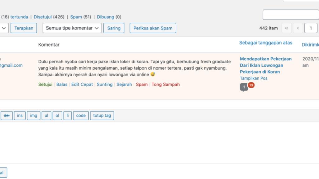Modul Komentar Dapat Berfungsi Kembali. masalah pada update WordPress 5.5 teratasi.