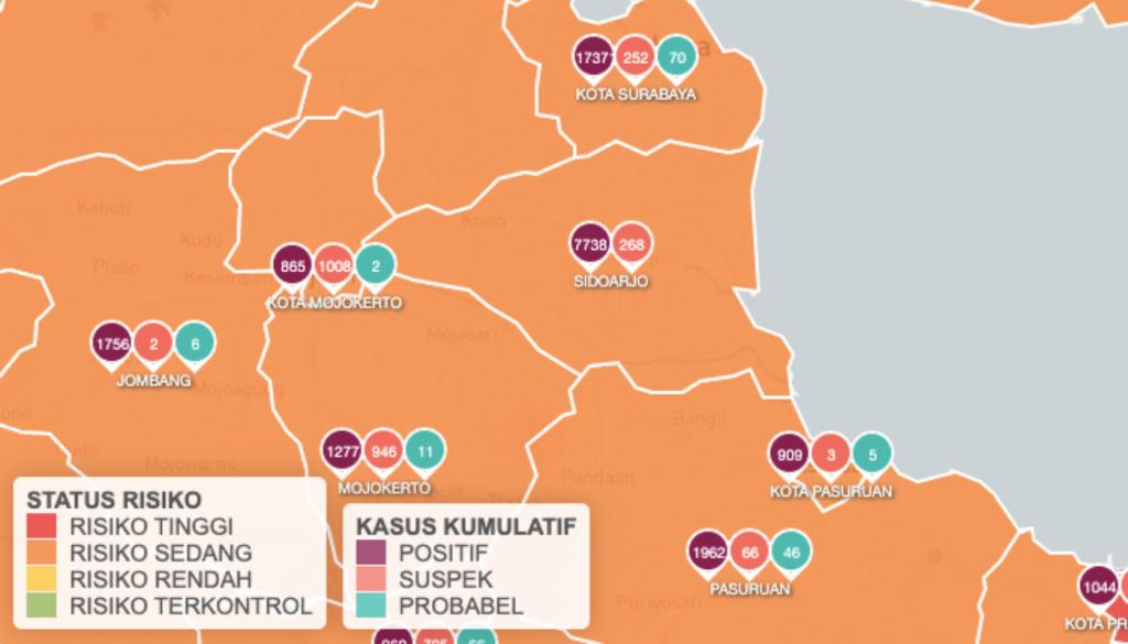 Peta Risiko Penyebaran Covid Sidoarjo per Desember 2020